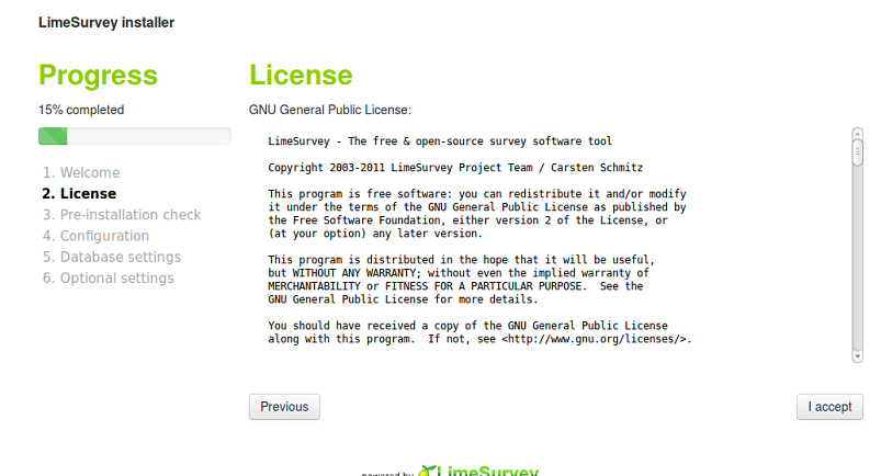 LimeSurvey License