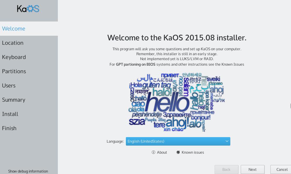 kaOS language