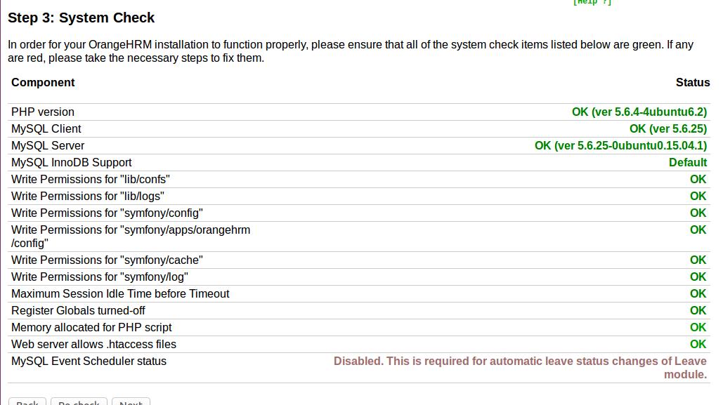 orangHRM System Check
