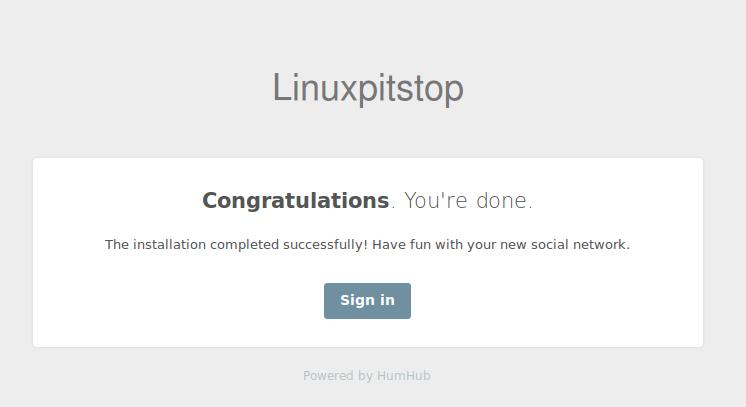 HumHub Installation Complete