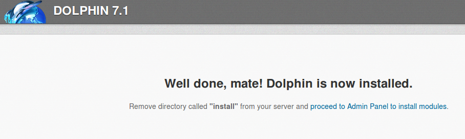 Dolphin Install complete