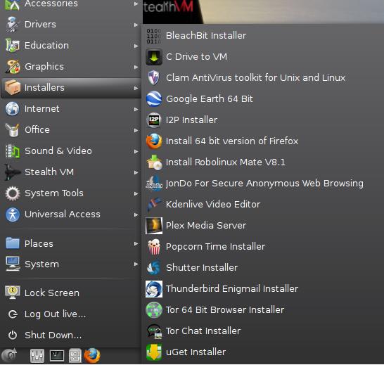 RoboLinux Installer memu