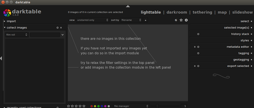 Darktable main
