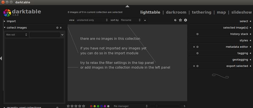 Darktable main