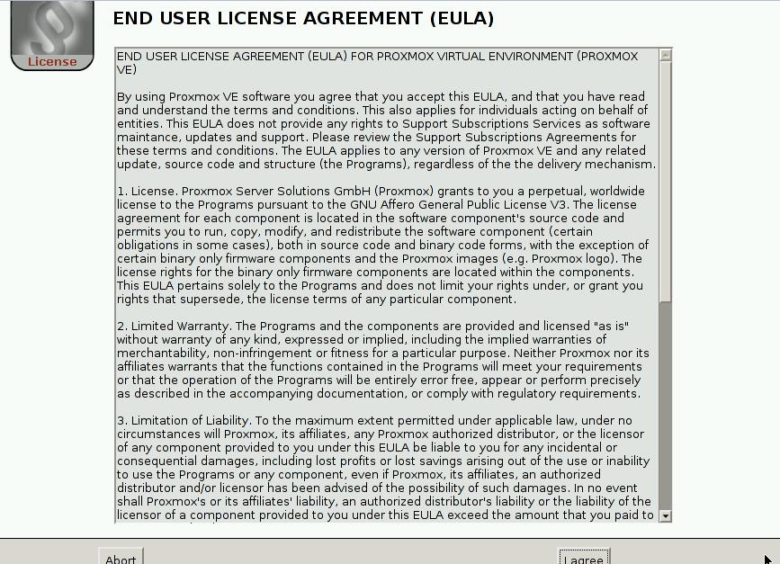 Proxmox User agreement