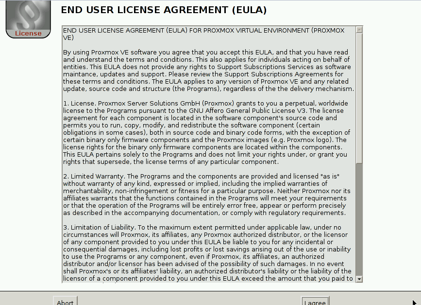 Proxmox User agreement