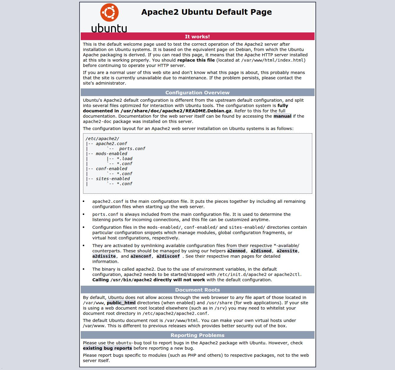 Apache2 Ubuntu Default Page