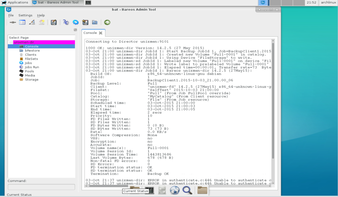 bareos on arch linux