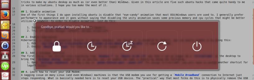 Ubuntu Shutdown Dialog
