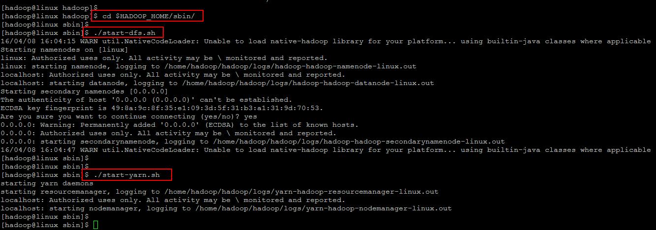 start hadoop cluster