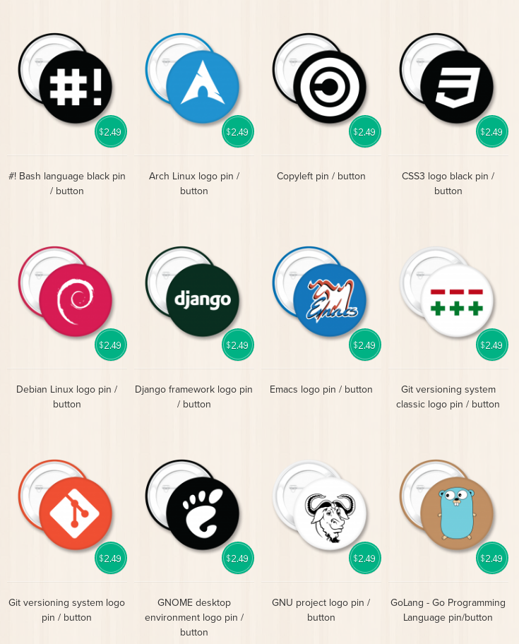 Linux and Open Source Pins and Buttons Unixstickers - 7