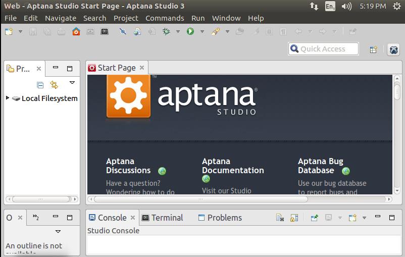 Aptana Studio Startup