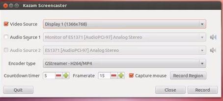 kazam screen cast software