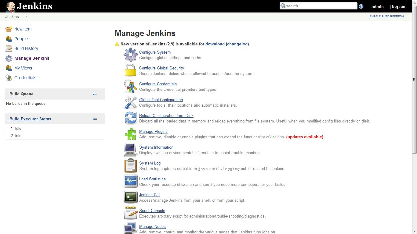 jenkins manage screen