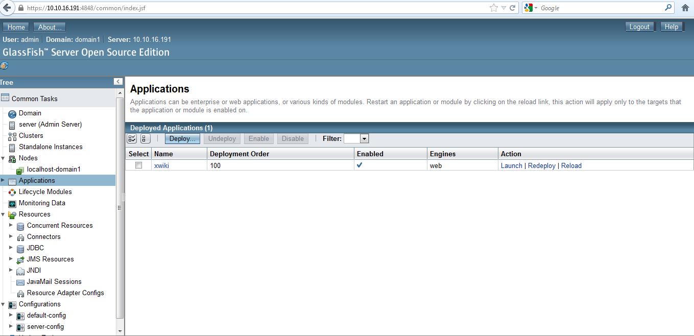xwiki in application menu