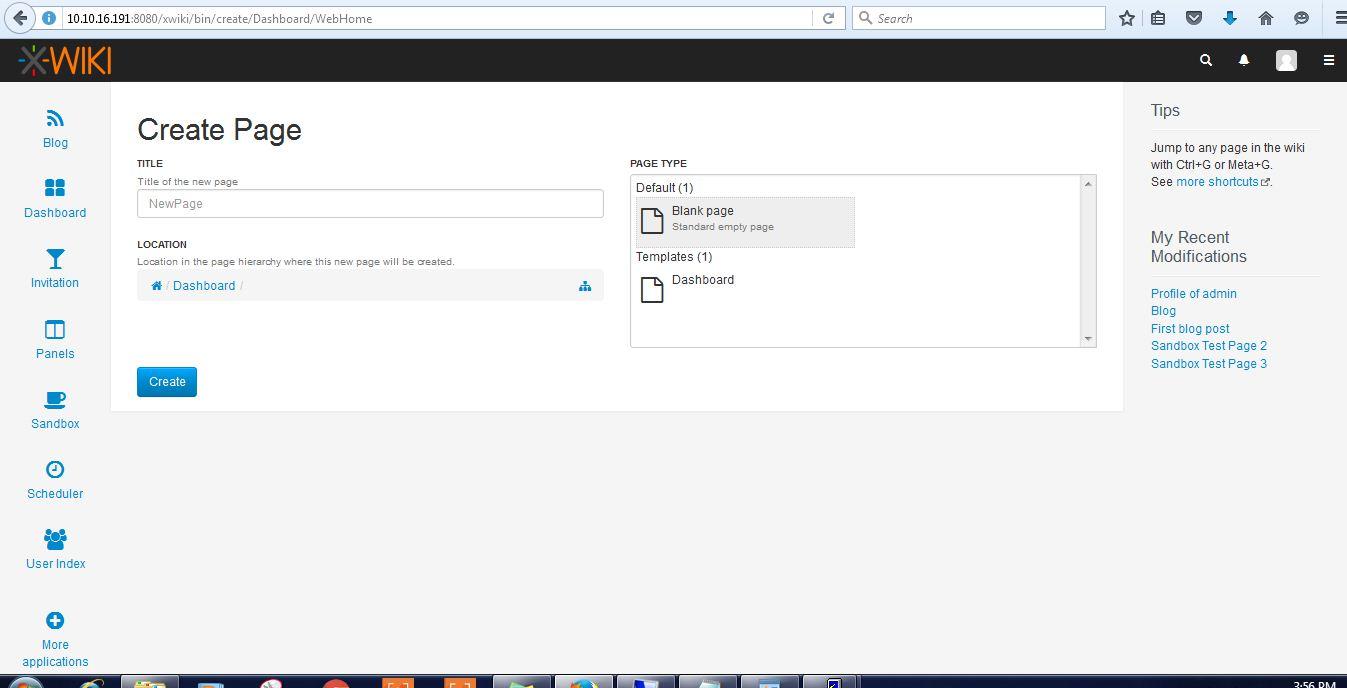 xwiki page create