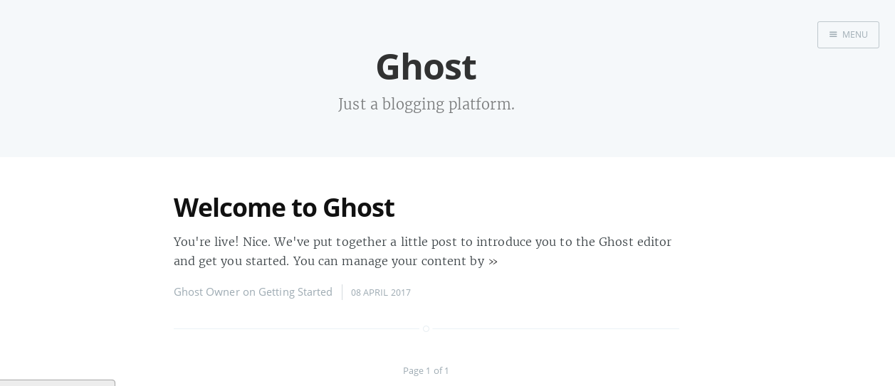 Ghost Welcome page