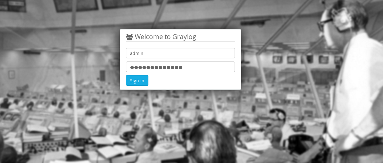 graylog logs management system login page
