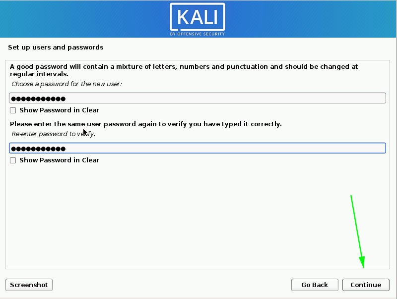 Specify the password for the new user created in Kali