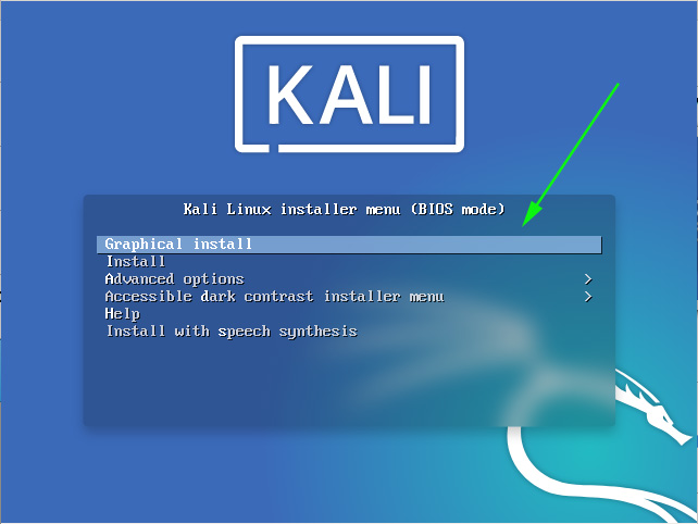 Kali Linux Installer menu