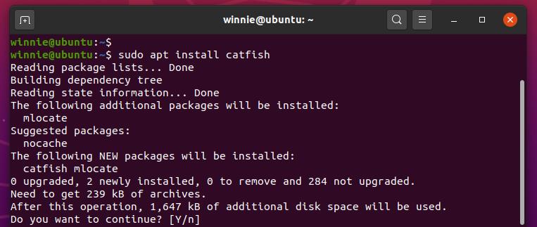Install catfish GUI tool