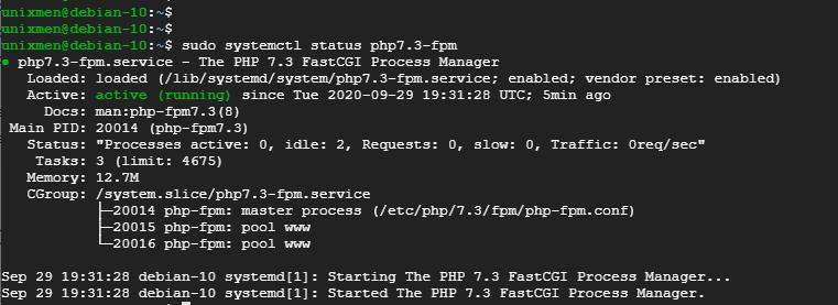 verify status of php-fpm