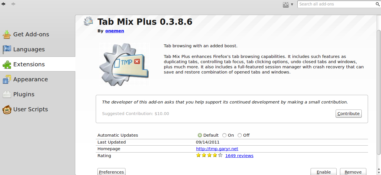 The Tab Mix Plus version 0.3.8.6, the Tab Add-on for Firefox