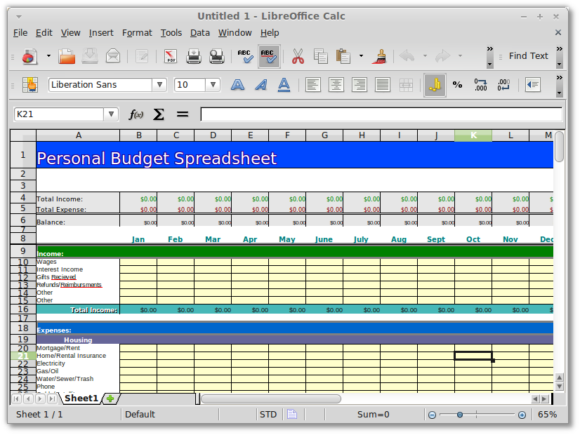 Openoffice.org & Libreoffice- Personal/Family Budget Spreadsheet