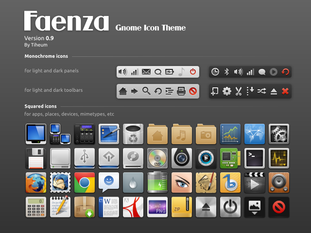 "Faenza Icons 0.9 comes with a new ""darkest"" theme, new applications and status icons"