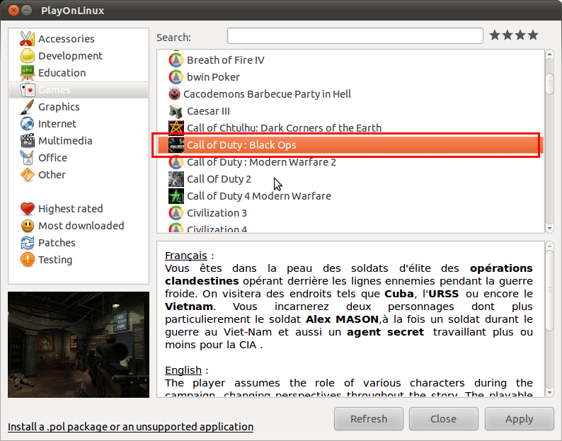 Howto install Call of Duty Black Ops in Linux using PlayOnLinux