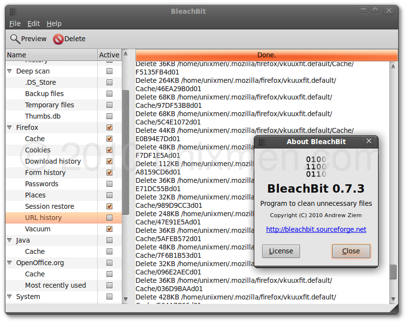 BleachBit- Quickly frees disk space, removes hidden junk, and easily guards your privacy