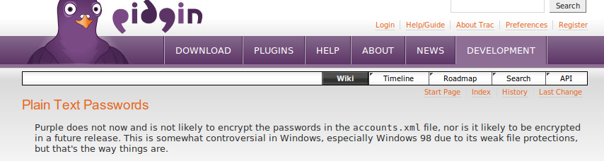 Pidgin store passwords in clear text!!!!