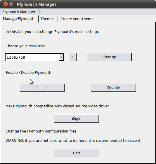 Plymouth Manager- A nice tool to change plymouth resolution and boot theme in Ubuntu