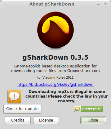 gSharkDown – A nice application to search, Listen and download your favorite music from grooveshark service